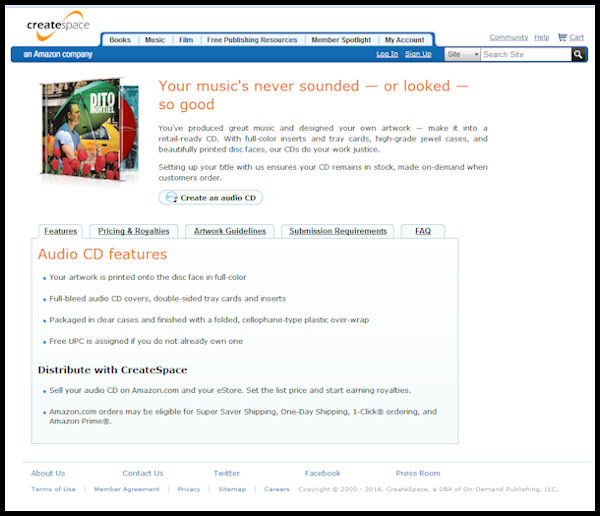 Login screen for CreateSpace Amazon Music CD creation - screen shot